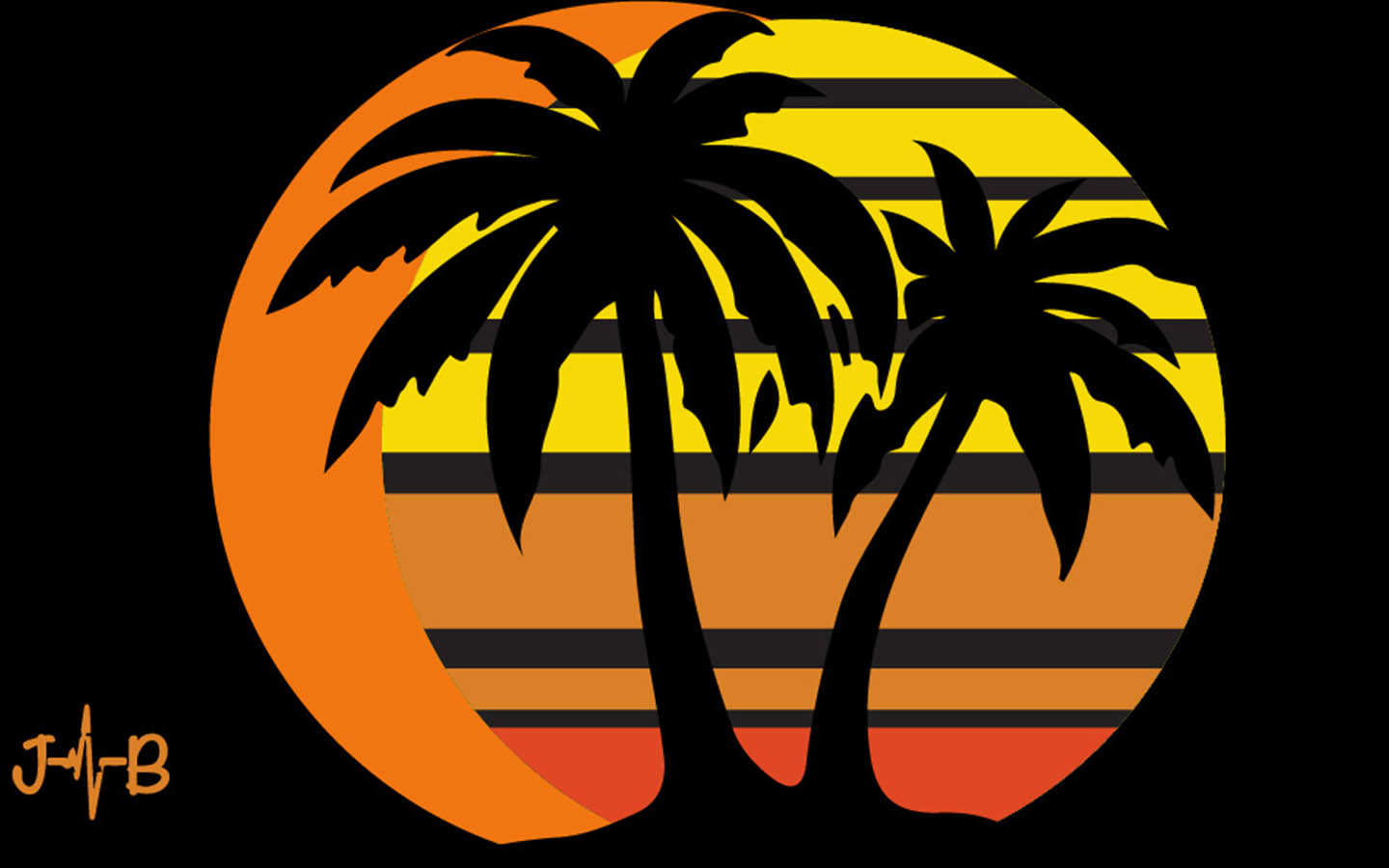 Palms of Paradise in black